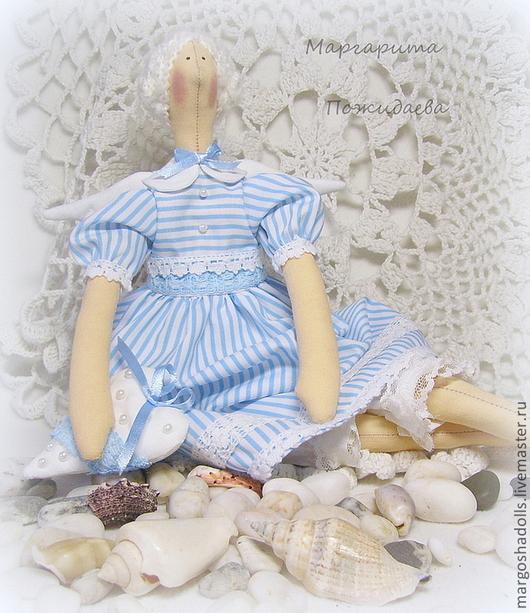 """Куклы Тильды ручной работы. Ярмарка Мастеров - ручная работа. Купить Тильда-ангел.""""Морячка Наталия"""". Handmade. Голубой, бусины"""