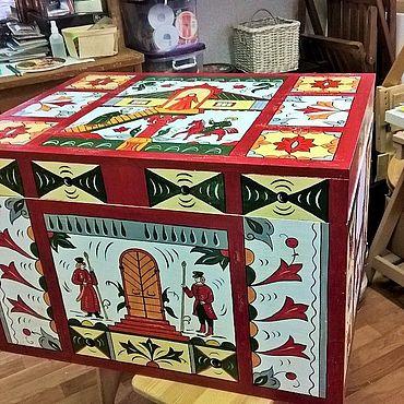 Мебель ручной работы. Ярмарка Мастеров - ручная работа Расписной сундук для хранения с коваными ручками. Handmade.