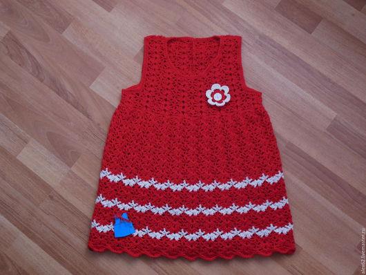 Одежда для девочек, ручной работы. Ярмарка Мастеров - ручная работа. Купить Платье вязанное детское. Handmade. Ярко-красный