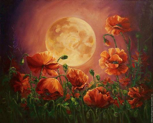 Картины цветов ручной работы. Ярмарка Мастеров - ручная работа. Купить Лунные маки. Handmade. Ярко-красный, маки пейзаж