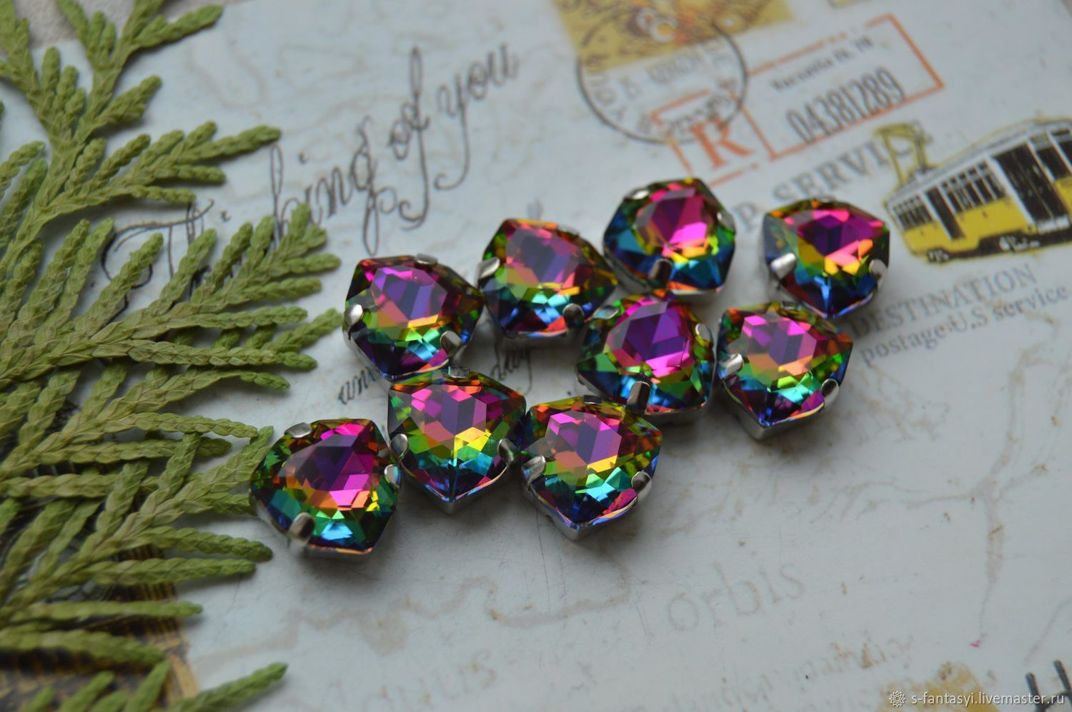 Trillion 12mm Chameleon DELUXE, Cabochons, Stavropol,  Фото №1