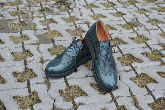 Обувь ручной работы. Ярмарка Мастеров - ручная работа. Купить Оксфорд зеленого цвета ALENKA на платформе. Handmade. Тёмно-зелёный