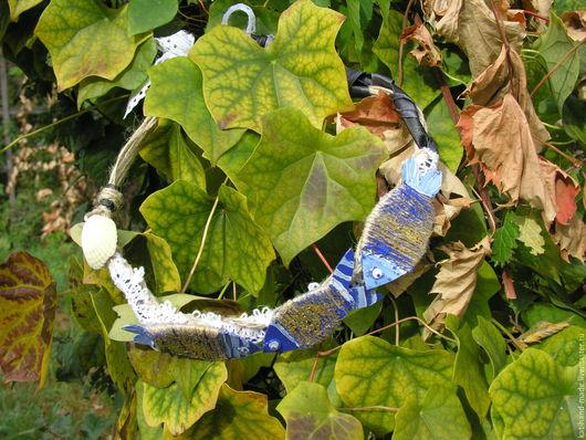 Колье, бусы ручной работы. Ярмарка Мастеров - ручная работа. Купить Рыбки. Handmade. Синий, полоска, текстиль, кожзам, Бичёвка