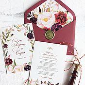 Свадебный салон ручной работы. Ярмарка Мастеров - ручная работа Акварельные свадебные приглашения в палитре Марсала. Handmade.