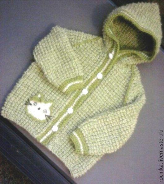 Одежда унисекс ручной работы. Ярмарка Мастеров - ручная работа. Купить Вязаная кофта-куртка для детей. Handmade. Салатовый, вязание