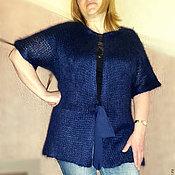 """Одежда ручной работы. Ярмарка Мастеров - ручная работа Темно-синий вязанный жакет """"Сапфир"""". Handmade."""