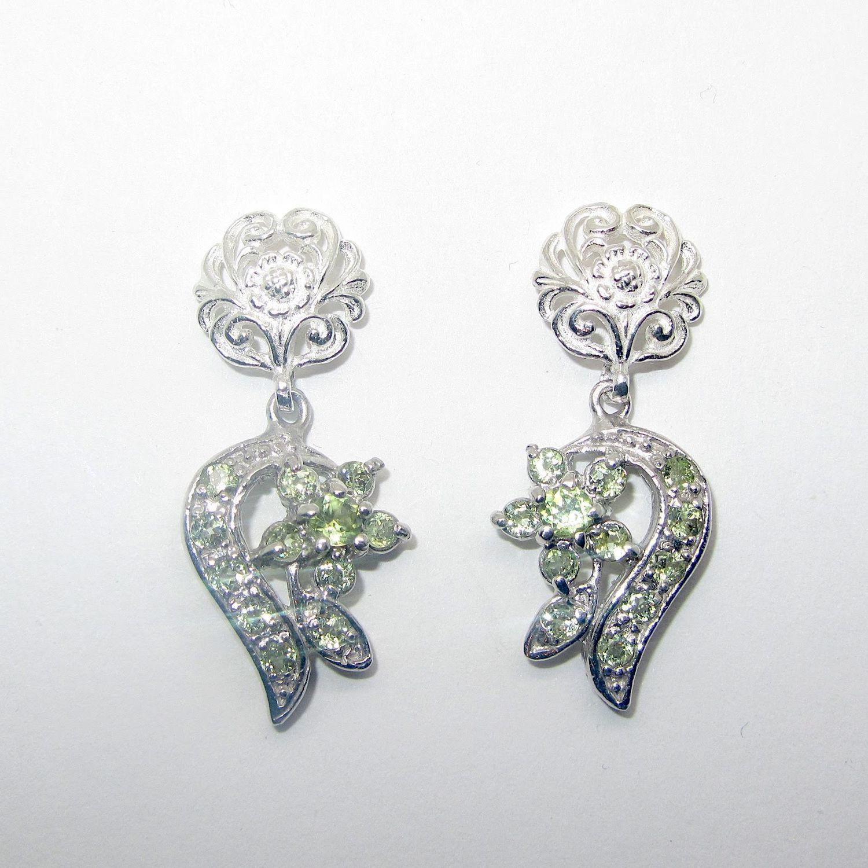 Серьги с хризолитом серебряные, Серьги классические, Самара,  Фото №1