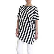 Одежда handmade. Livemaster - original item OFF DUTY summer asymmetrical tunic blouse striped. Handmade.