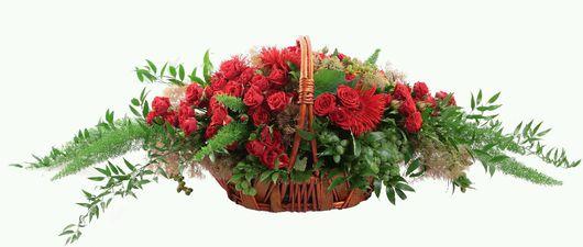 Букеты ручной работы. Ярмарка Мастеров - ручная работа. Купить корзина из живых цветов. Handmade. Корзина, живые цветы, роза