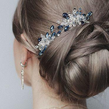 Свадебный салон ручной работы. Ярмарка Мастеров - ручная работа Комплект свадебных шпилек с синими кристаллами для прически невесты. Handmade.