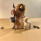 Куклы и игрушки handmade. Livemaster - original item Needle felted shepherd with sheep. Handmade.