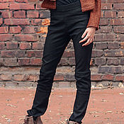 Одежда ручной работы. Ярмарка Мастеров - ручная работа Брюки стрейч женские / Черные джинсовые брюки. Handmade.