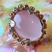 Rings handmade. Livemaster - original item Ring `Flower` pink quartz and tanzanite. Handmade.