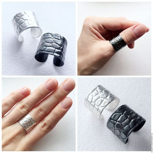 Кольца ручной работы. Ярмарка Мастеров - ручная работа. Купить Серебряные широкие кольца с текстурой. Handmade. Серебряный, под кожу