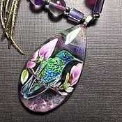 Украшения handmade. Livemaster - original item Pendant: Pendant with a lacquer miniature of a Hummingbird. Handmade.