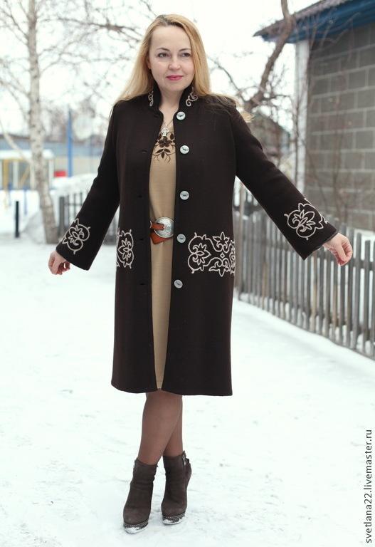 """Верхняя одежда ручной работы. Ярмарка Мастеров - ручная работа. Купить Вязаное пальто """"Любимый принт"""". Handmade. Коричневый"""