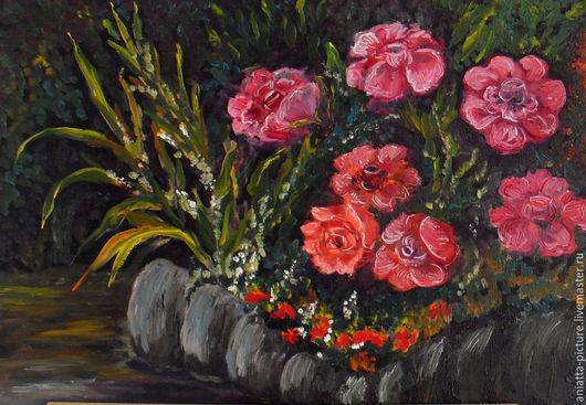 """Картины цветов ручной работы. Ярмарка Мастеров - ручная работа. Купить """"Ночная клумба"""". Handmade. Разноцветный, ночь, клумба"""