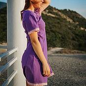 Одежда handmade. Livemaster - original item Summer Dress Linen Midi Summer Vacation-Blueberry