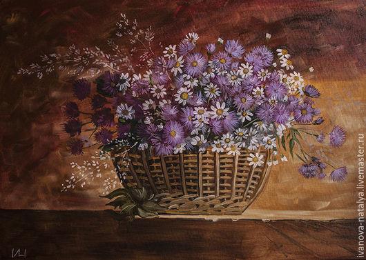 Картины цветов ручной работы. Ярмарка Мастеров - ручная работа. Купить натюрморт с агератумом. Handmade. Сиреневый, цветы, масляные краски
