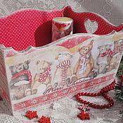 """Подарки к праздникам ручной работы. Ярмарка Мастеров - ручная работа Новогодний короб для подарков """"Волшебный Новый год"""". Handmade."""