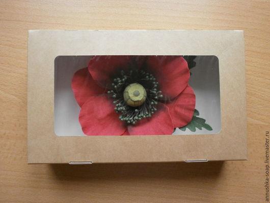 Коробка крафт-картон для упаковки изделий ручной работы сборная, не требует склеивания.
