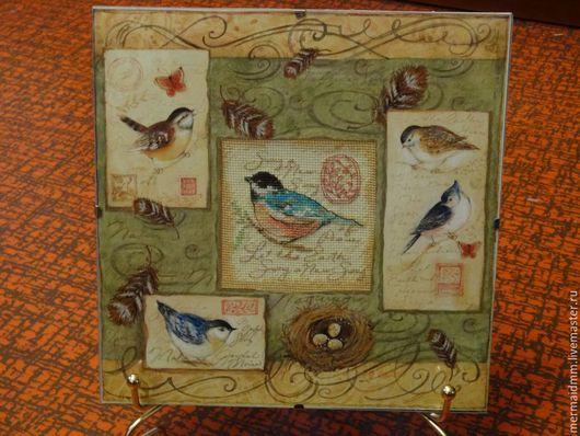 Животные ручной работы. Ярмарка Мастеров - ручная работа. Купить Птичка. Handmade. Комбинированный, птица, Вышивка крестом, вышивка на заказ