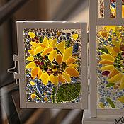 Для дома и интерьера ручной работы. Ярмарка Мастеров - ручная работа Подсвечник-фонарик Подсолнухи цветное стекло. Handmade.