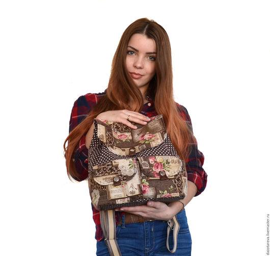 Рюкзаки ручной работы. Ярмарка Мастеров - ручная работа. Купить Рюкзак женский Горох. Handmade. Коричневый, рюкзак в подарок, рюкзачок