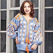 Одежда handmade. Livemaster - original item Blouse linen Blue ethnic embroidery women`s shirt. Handmade.