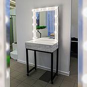 Столы ручной работы. Ярмарка Мастеров - ручная работа Брашированный туалетный столик + гримерное зеркало с лампами. Handmade.