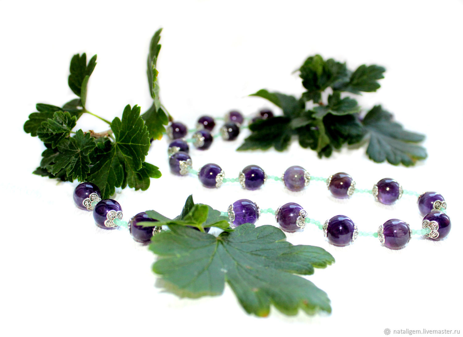 Beads made of natural stones amethyst Currants, Necklace, Tuchkovo,  Фото №1