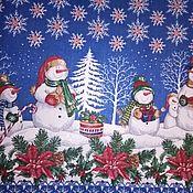 Ткани ручной работы. Ярмарка Мастеров - ручная работа Ткань: Новогодняя  ткань 100% хлопок для шитья  рогожка. Handmade.