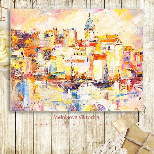 """Пейзаж ручной работы. Ярмарка Мастеров - ручная работа. Купить Картина маслом """"Солнышко в городе"""" 50/40 см. Handmade. Подарок"""