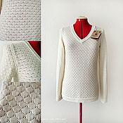 """Одежда ручной работы. Ярмарка Мастеров - ручная работа Вязаный  пуловер  """"Белые Соты"""". Handmade."""