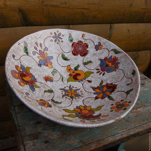 Тарелки ручной работы. Ярмарка Мастеров - ручная работа. Купить Блюдо глубокое керамическое. Handmade. Комбинированный, кракелюр, глазури по керамике