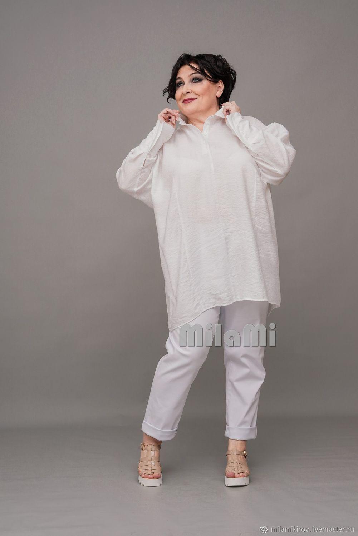 Shirt with one-piece sleeve white ' Fabi'. Art.4386, Shirts, Kirov,  Фото №1
