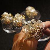 Украшения handmade. Livemaster - original item Unusual gift jewelry earrings ring and pendant, Irises. Handmade.
