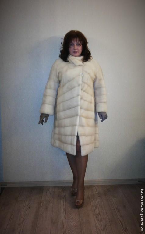 Большие размеры ручной работы. Ярмарка Мастеров - ручная работа. Купить Стильное меховое пальто из норки жемчуг для полной женщины. Handmade.