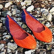 Обувь ручной работы handmade. Livemaster - original item ballet flats from python pointy toe orange with blueberries. Handmade.