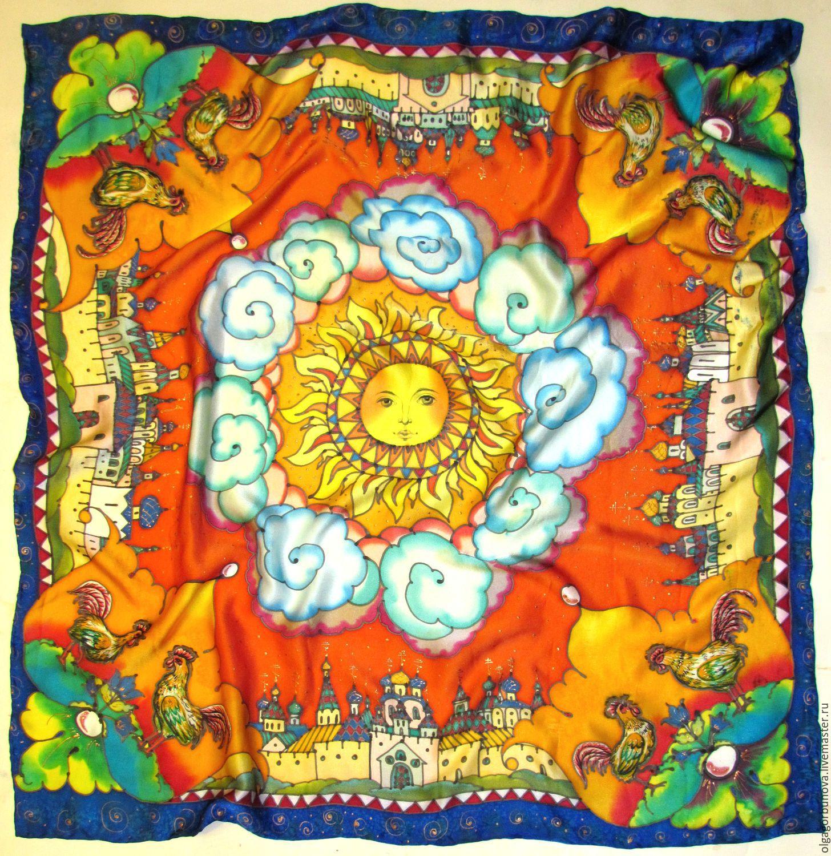 Batik scarf 'Cocks', Shawls1, Yaroslavl,  Фото №1