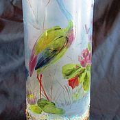 handmade. Livemaster - original item ANTIQUE CZECHOSLOVAKIA VASE HAND PAINTED 1900. Stork. Handmade.