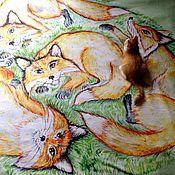 Для дома и интерьера ручной работы. Ярмарка Мастеров - ручная работа Флисовый плед с принтом Лисы на траве. Handmade.