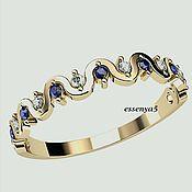 Украшения ручной работы. Ярмарка Мастеров - ручная работа Золотое кольцо с бриллиантами и сапфирами нежность. Handmade.