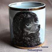 Кружка с пуделем (кружка с собакой) авторская роспись фарфора