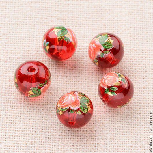 Бусина стеклянная с рисунком 10 мм цвет красный, отверстие ок. 1 мм. Очень красивые бусинки! (арт. 2258)