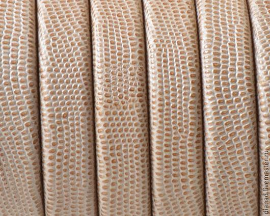 Для украшений ручной работы. Ярмарка Мастеров - ручная работа. Купить Кожаный шнур регализ, бежевый, фактурный. Испания. Handmade.