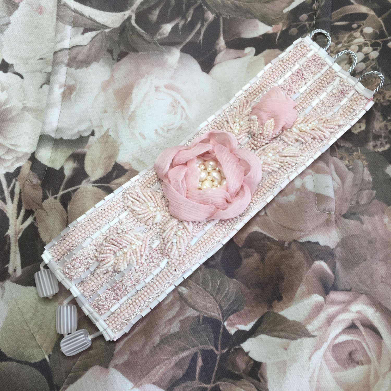 Вышитый Браслет цвета пыльная роза Розовая нежность, Браслет-манжета, Москва,  Фото №1