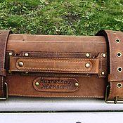 Сумки и аксессуары handmade. Livemaster - original item CASE: Double chef`s leather twist for 9 cognac-colored knives. Handmade.