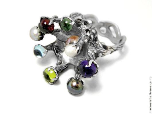 """Кольца ручной работы. Ярмарка Мастеров - ручная работа. Купить Кольцо """"Кракозябра"""". Handmade. Самоцветы, хризолит, белый жемчуг, кольцо"""