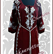 Одежда handmade. Livemaster - original item Dress in Burgundy linen with white embroidery. Handmade.
